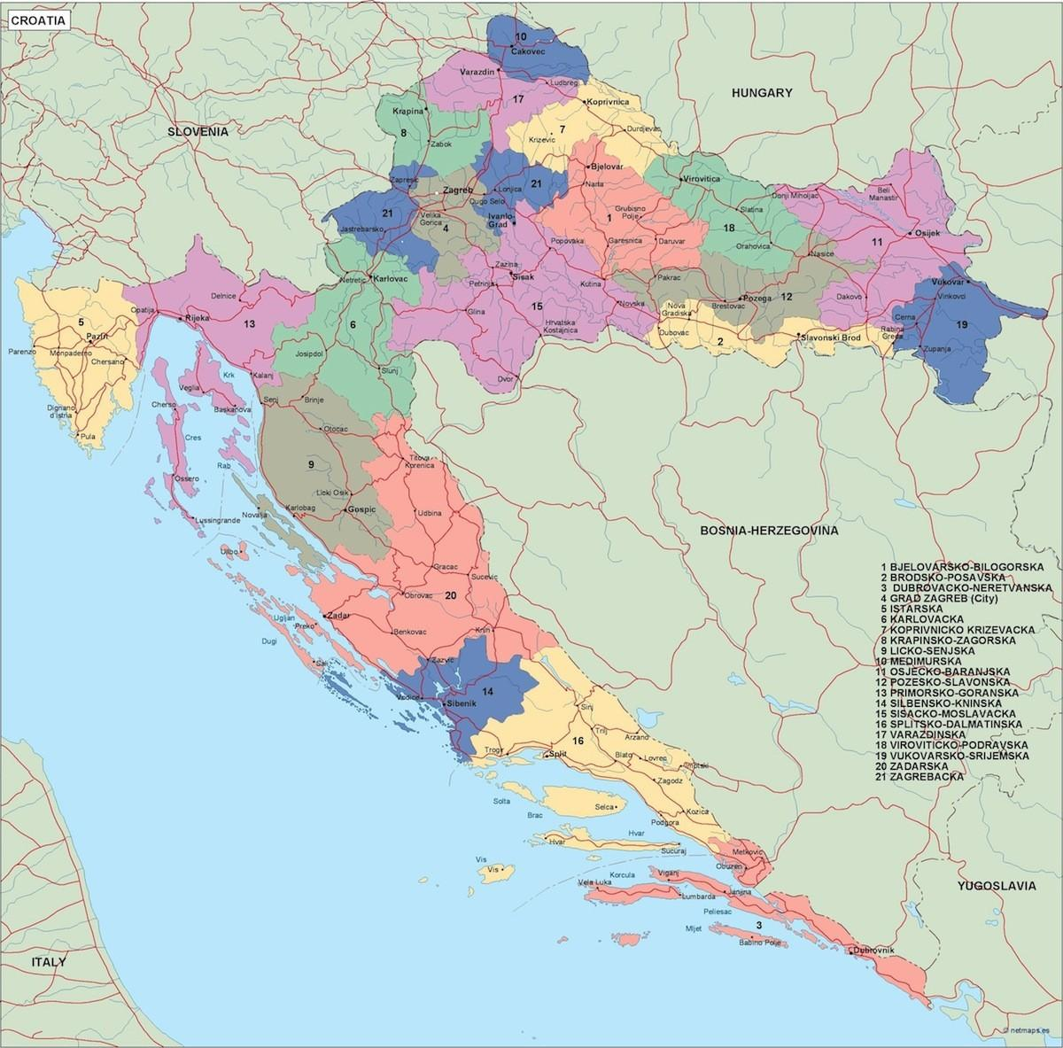 kroatien politiske kort kort over kroatien politiske det sydlige europa europa. Black Bedroom Furniture Sets. Home Design Ideas